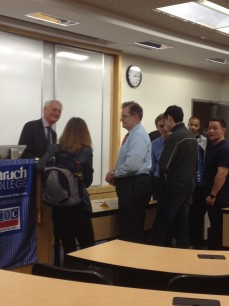 Students line up to Network with Geoffrey after the workshop