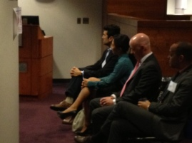Credit Suisse guests Victor Barb, Heather Chun, Ian Davidson and Luis Rojas (from left to right)