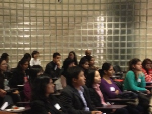 Baruch College graduate and undergraduate students attending the panel